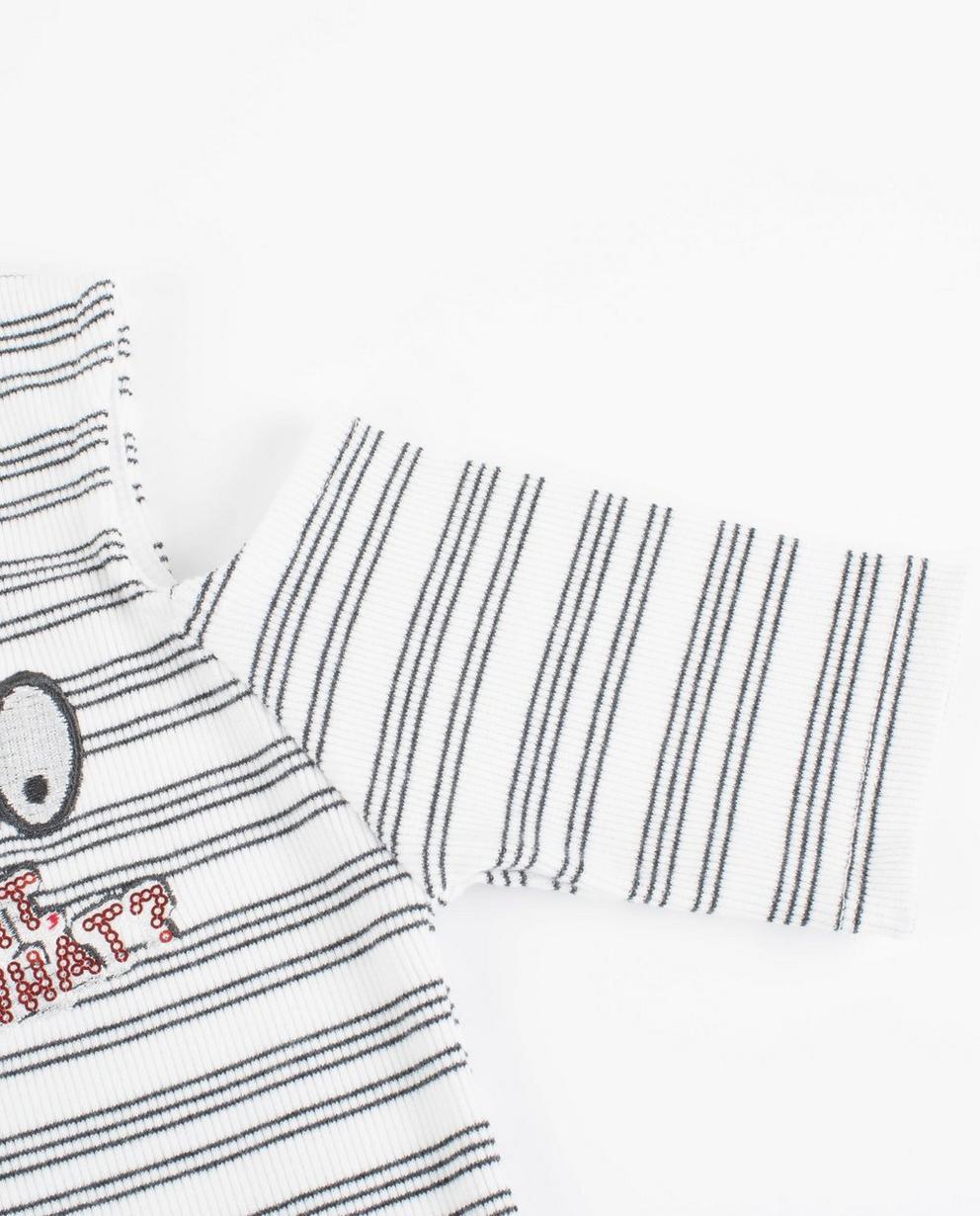Kleider - Dunkelgrau - Witte gestreepte jurk met cutouts